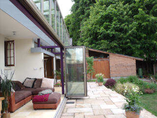 orangery extension, doors open