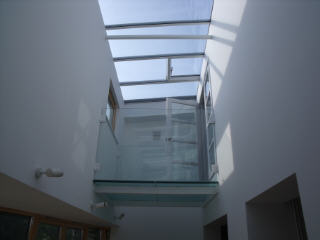 White Barn glass bridge over gallery