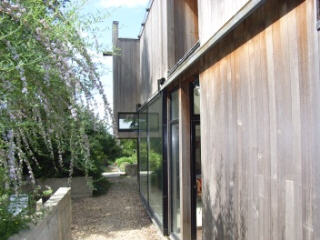 new cedar-clad house, view into garden